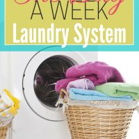 wicker laundry basket with folded clothes sitting in front of washing machine laundry tips