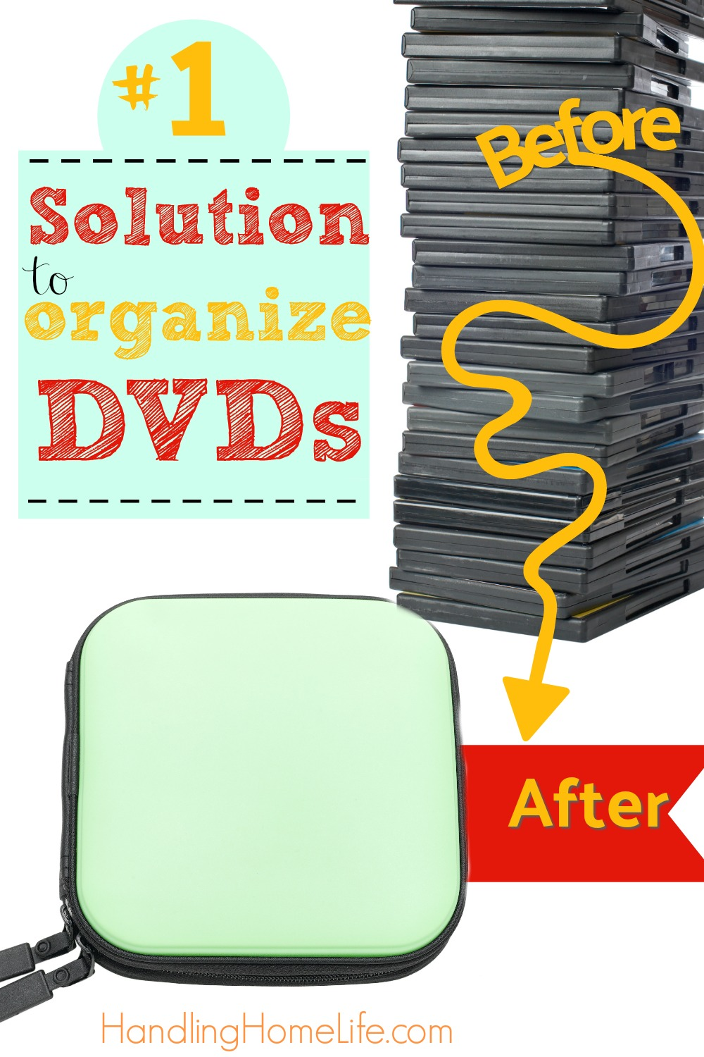 Stack of DVDs and a zippered DVD case: how to organize dvds