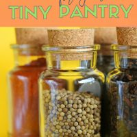 glass bottles of various spices: how to organize your small pantry