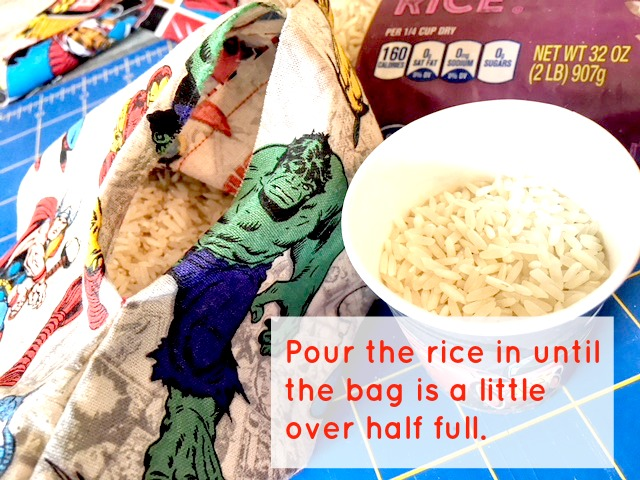 diy heat pack or ice pack: easy to make superhero rice bags
