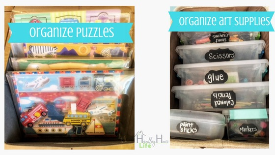 playroom organization for puzzles and art supplies