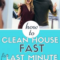 how to clean house fast for last minute guests: excited couple at the front door with a bottle of wine