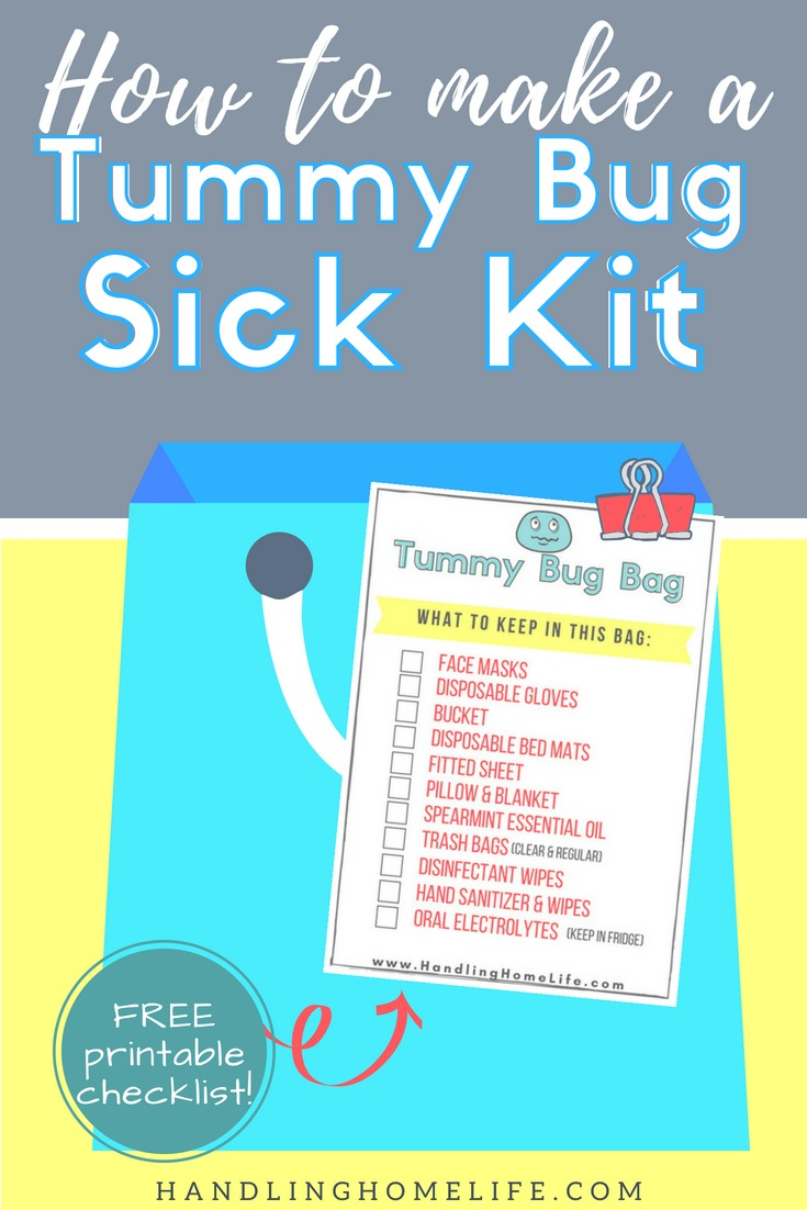 how to organize and put together a sick kid for middle of night stomach virus with a free printable supply checklist