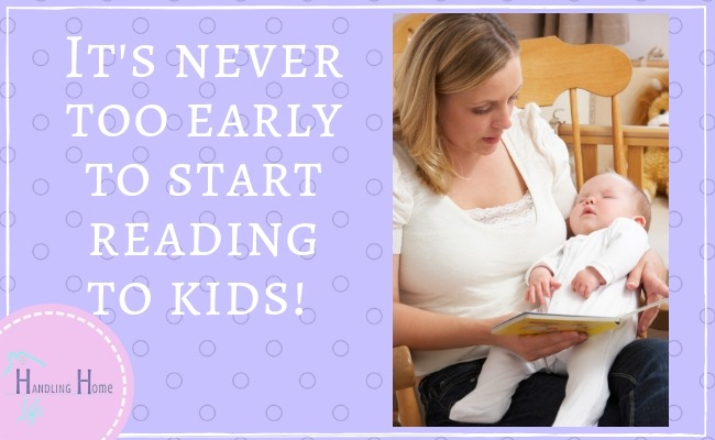 mom reading book to newborn baby while rocking in chair