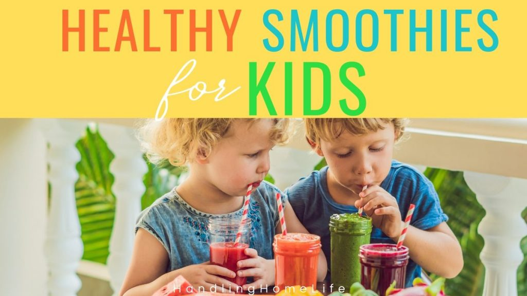 preschool age boy and girl drinking fruit and vegetable smoothies