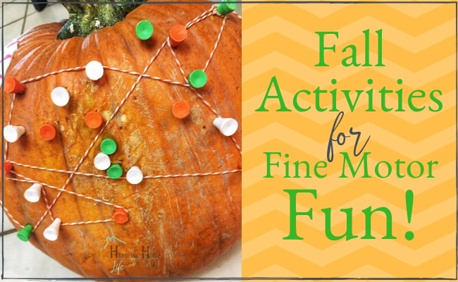 preschool activities ideas with pumpkins and golf tees for fine motor strengthening