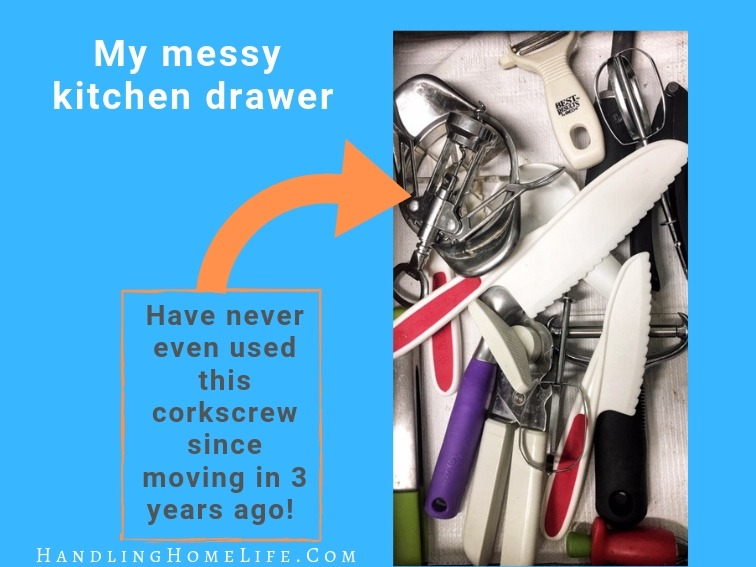 image of inside a messy kitchen drawer
