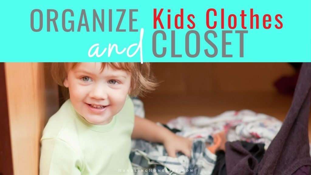 young boy sitting in bedroom floor with clothes scattered how to organize kids clothes