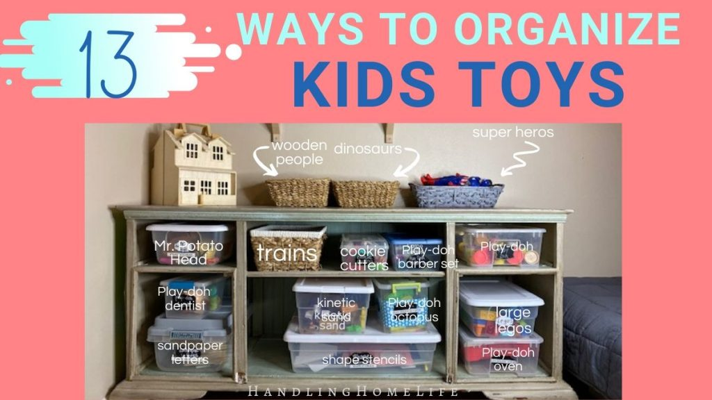 shelf with kids toys in tubs with lids and labels