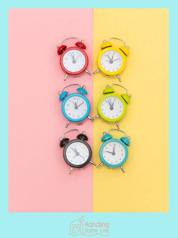 six colorful alarm clocks
