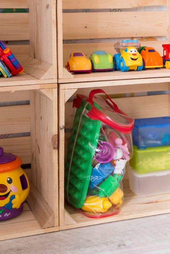 children's toys neatly sitting on shelves