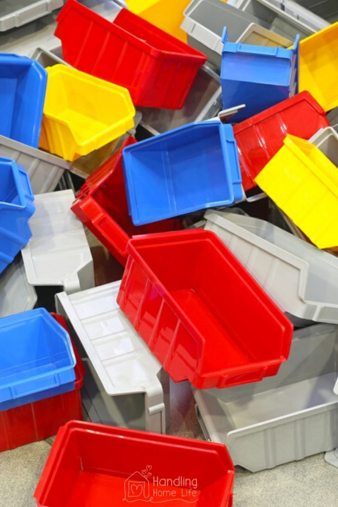 Declutter plastic tubs and bins
