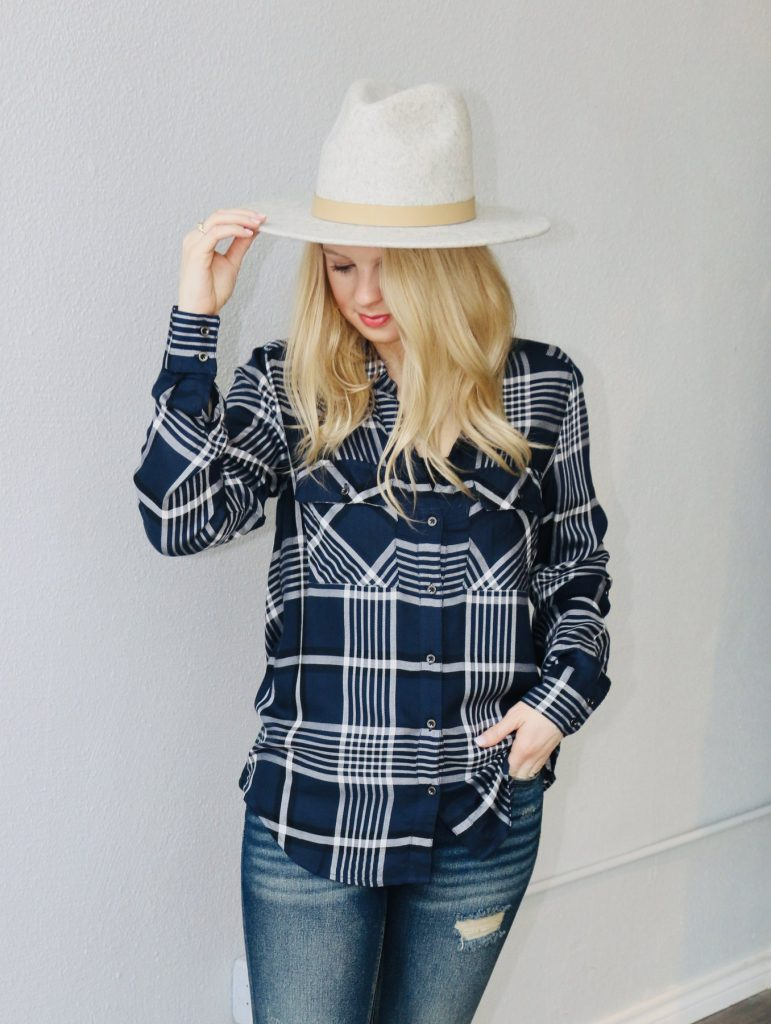 indigo plaid button down top
