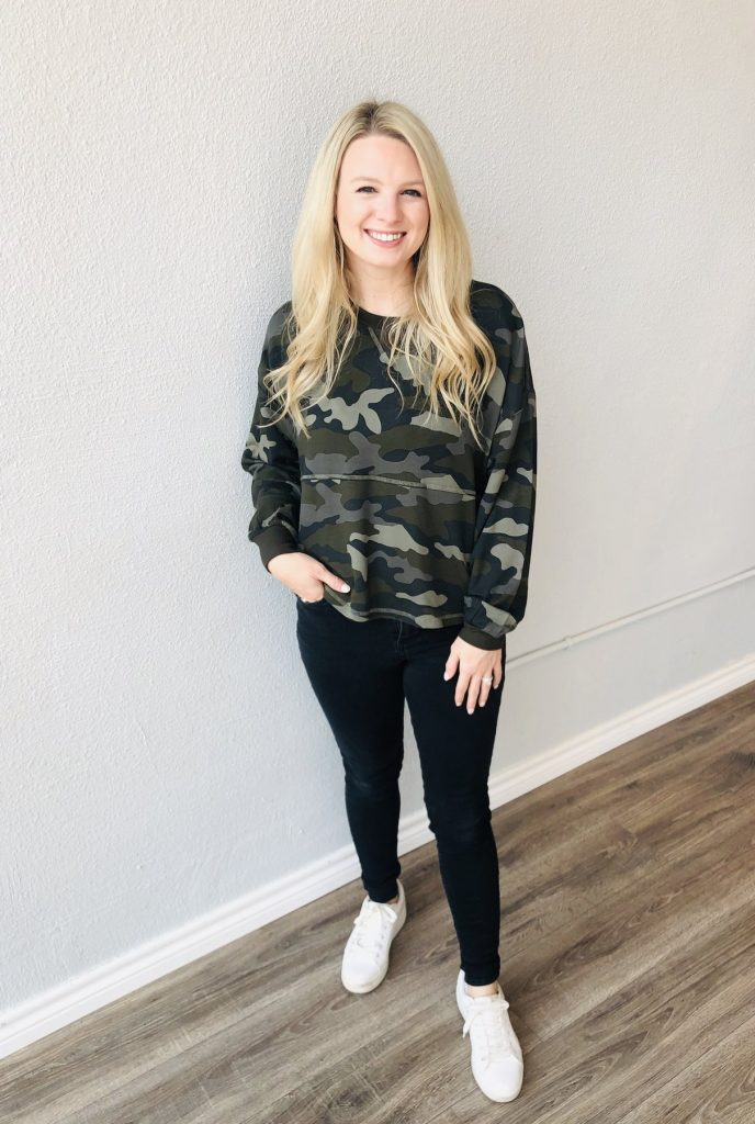 casual camo pullover for women