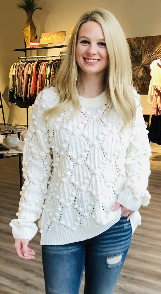 cream sausalito sweater with pom-pom details