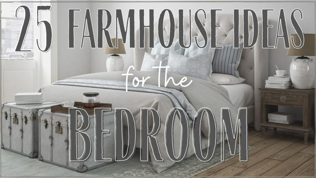 upholstered headboard with neutral textiles in a farmhouse style bedroom